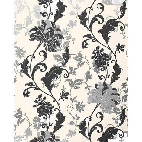 Papier peint floral EDEM 833-20 dessin précieux fleurs et feuilles noir blanc argent crème 70 cm