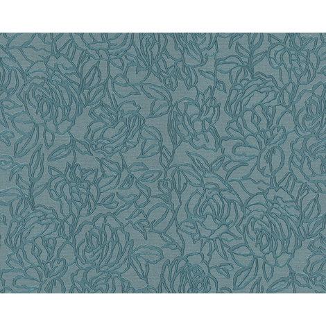 Papier peint floral EDEM 9040-28 papier peint gaufré à chaud avec dos intissé gaufré avec des ornements floraux brillant bleu 10,65 m2