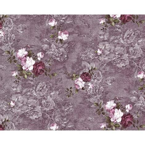 Papier peint floral EDEM 9045-25 Papier peint intissé gaufré au design romantique mat pourpre aubergine rouge vin blanc 10,65 m2