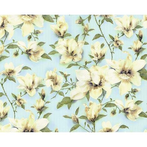 Papier peint floral EDEM 9080-29 Papier peint intissé gaufré avec des ornements floraux satiné bleu vert blanc 10,65 m2