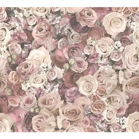 Papier peint floral Profhome 327222-GU papier peint intissé lisse avec un dessin floral mat rose vert-oxyde-chromique blanc 5,33 m2