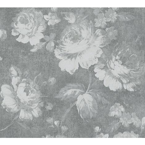 Papier peint floral Profhome 336041-GU papier peint intissé lisse avec un dessin floral mat gris 5,33 m2