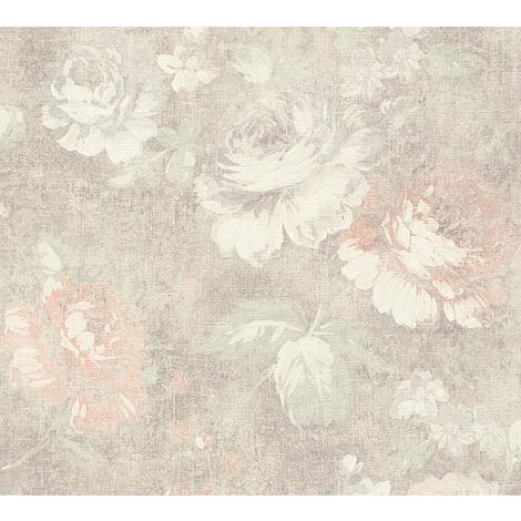 Papier peint floral Profhome 336042-GU papier peint intissé lisse avec un dessin floral mat brun rouge 5,33 m2