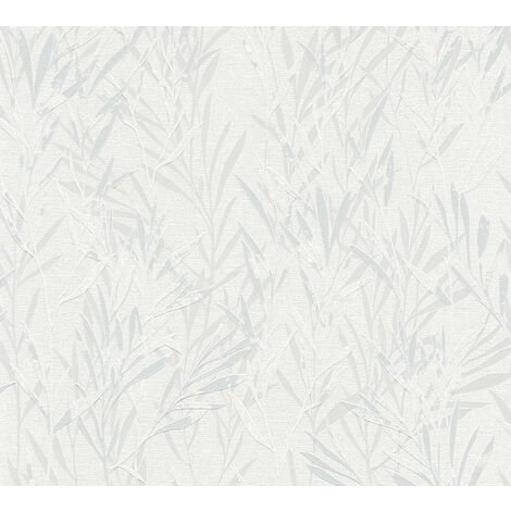 Papier peint floral Profhome 367121-GU papier peint intissé légèrement texturé avec des ornements floraux mat gris blanc 5,33 m2