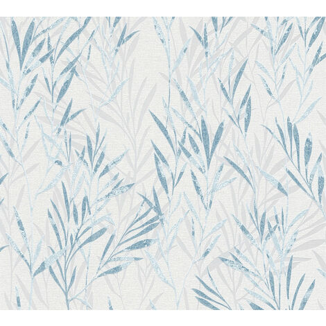 Papier peint floral Profhome 367122-GU papier peint intissé légèrement texturé avec des ornements floraux mat bleu blanc 5,33 m2