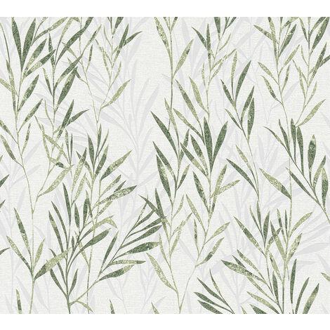 Papier peint floral Profhome 367123-GU papier peint intissé légèrement texturé avec des ornements floraux mat vert blanc 5,33 m2