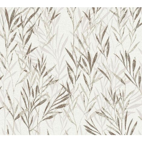 Papier peint floral Profhome 367124-GU papier peint intissé légèrement texturé avec des ornements floraux mat brun beige vert oxyde chromique 5,33 m2