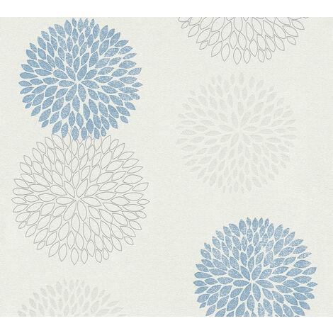 Papier peint floral Profhome 372642-GU papier peint intissé légèrement texturé avec un dessin floral mat bleu gris blanc 5,33 m2