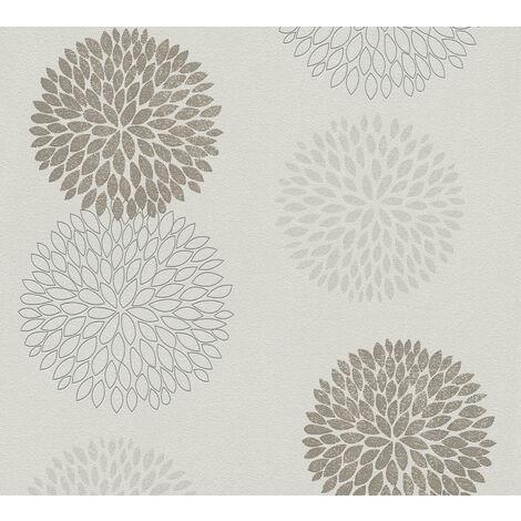 Papier peint floral Profhome 372643-GU papier peint intissé légèrement texturé avec un dessin floral mat brun gris beige 5,33 m2