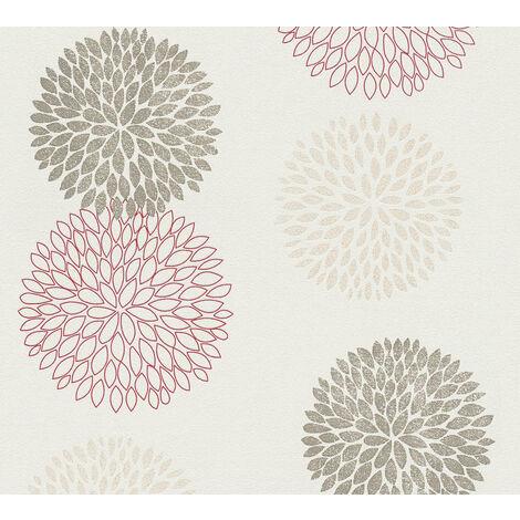 Papier peint floral Profhome 372644-GU papier peint intissé légèrement texturé avec un dessin floral mat brun rouge beige 5,33 m2