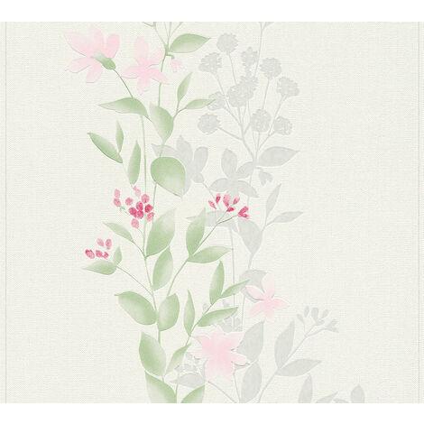 Papier peint floral Profhome 372661-GU papier peint intissé légèrement texturé avec un dessin floral mat vert rose gris 5,33 m2