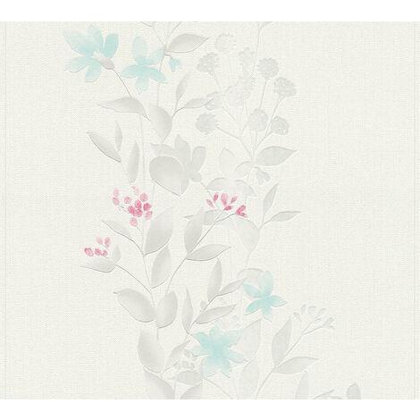 Papier peint floral Profhome 372662-GU papier peint intissé légèrement texturé avec un dessin floral mat gris bleu 5,33 m2