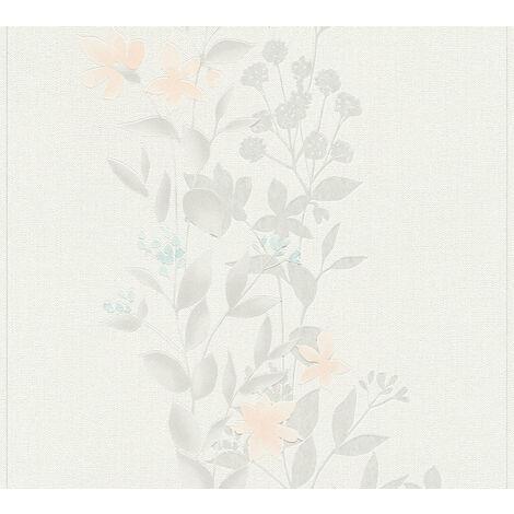 Papier peint floral Profhome 372663-GU papier peint intissé légèrement texturé avec un dessin floral mat gris orange bleu 5,33 m2