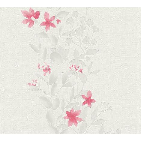 Papier peint floral Profhome 372664-GU papier peint intissé légèrement texturé avec un dessin floral mat gris rouge 5,33 m2