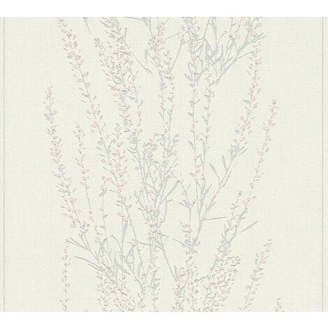 Papier peint floral Profhome 372671-GU papier peint intissé légèrement texturé avec un dessin floral mat gris rose 5,33 m2