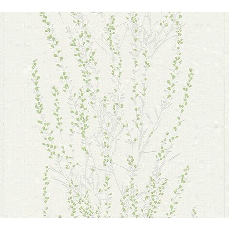 Papier peint floral Profhome 372672-GU papier peint intissé légèrement texturé avec un dessin floral mat vert gris 5,33 m2
