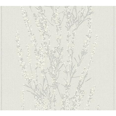 Papier peint floral Profhome 372673-GU papier peint intissé légèrement texturé avec un dessin floral mat gris beige argent 5,33 m2