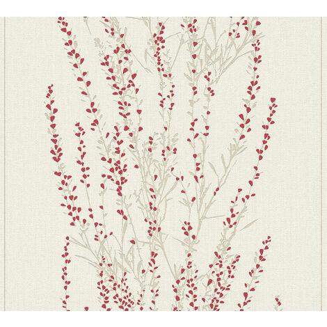 Papier peint floral Profhome 372674-GU papier peint intissé légèrement texturé avec un dessin floral mat rouge beige 5,33 m2