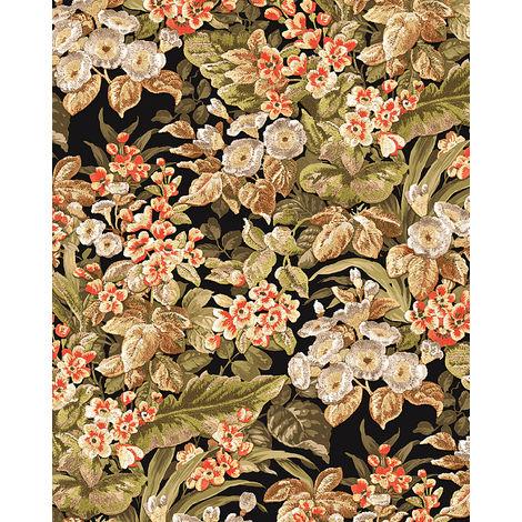 Papier peint floral Profhome BA220023-DI papier peint intissé gaufré à chaud gaufré avec un dessin floral mat vert olive-jaune vert brun vert jonc 5,33 m2