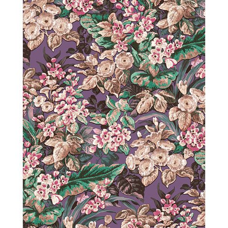 Papier peint floral Profhome BA220024-DI papier peint intissé gaufré à chaud gaufré avec un dessin floral mat pourpre violet-pourpre violet bordeaux vieux rose 5,33 m2