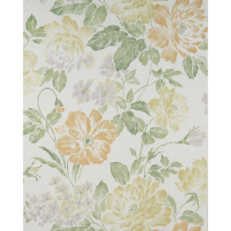 Papier peint floral Profhome BV919081-DI papier peint intissé gaufré à chaud texturé avec un dessin floral mat crème beige-vert jaune sable vert fougère 5,33 m2