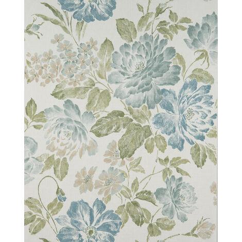 Papier peint floral Profhome BV919082-DI papier peint intissé gaufré à chaud texturé avec un dessin floral mat blanc vert-olive bleu vert 5,33 m2