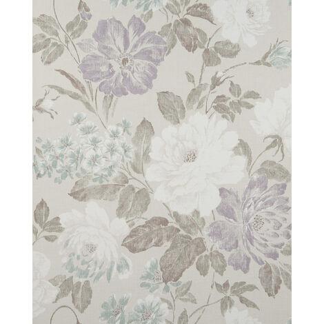 Papier peint floral Profhome BV919083-DI papier peint intissé gaufré à chaud texturé avec un dessin floral mat gris anthracite lilas menthe 5,33 m2