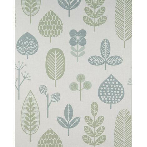 Papier peint floral Profhome BV919084-DI papier peint intissé gaufré à chaud texturé au style country mat blanc vert menthe 5,33 m2