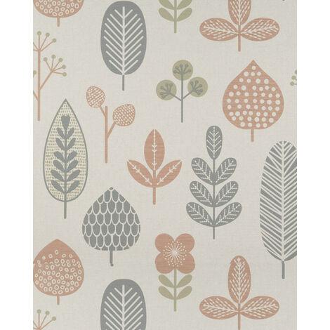 Papier peint floral Profhome BV919085-DI papier peint intissé gaufré à chaud texturé au style country mat crème cuivré gris vert olive 5,33 m2