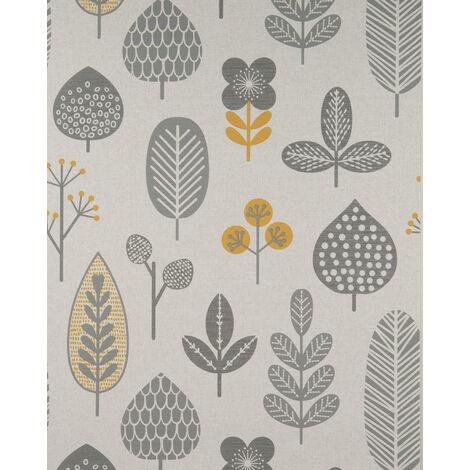 Papier peint floral Profhome BV919086-DI papier peint intissé gaufré à chaud texturé au style country mat gris argent jaune 5,33 m2