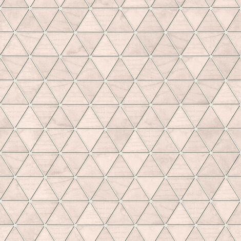 Papier peint géométrique Papier peint graphique Tapisserie géométrique Tapisserie graphique Gris Rose 366221 - 10,05 x 0,53 m