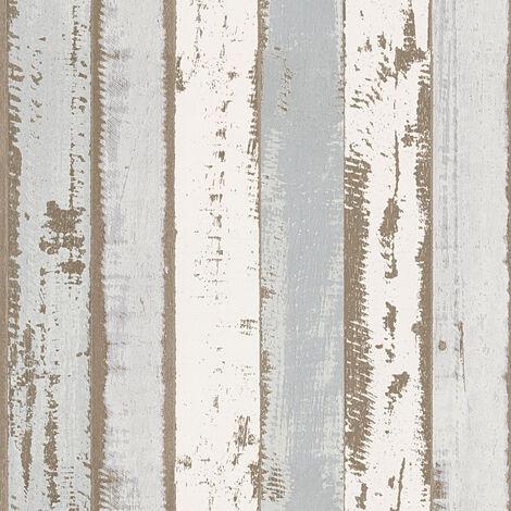Papier peint imitation bois Papier peint effet bois Papier peint bureau Beige/crème Marron Gris 302581 - 10,05 x 0,53 m