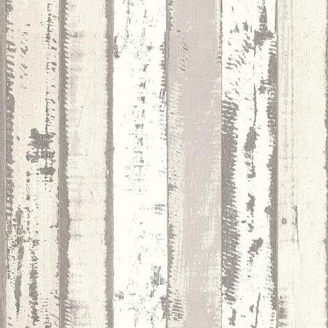 Papier peint imitation bois Papier peint effet bois Papier peint bureau Papier peint intissé Gris Blanc 302583 - 10,05 x 0,53 m