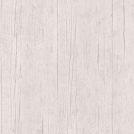 Papier peint imitation bois Papier peint effet bois Papier peint intissé Beige/crème Gris Blanc 364872 - 10,05 x 0,53 m