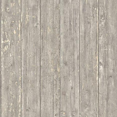 Papier peint imitation bois Papier peint effet bois Papier peint intissé Beige/crème Marron 365731 - 10,05 x 0,53 m