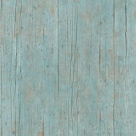 Papier peint imitation bois Papier peint effet bois Papier peint intissé Bleu Marron Vert 364871 - 10,05 x 0,53 m