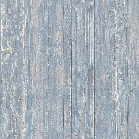 Papier peint imitation bois Papier peint effet bois Tapisserie imitation bois Bleu Beige/crème 365732 - 10,05 x 0,53 m