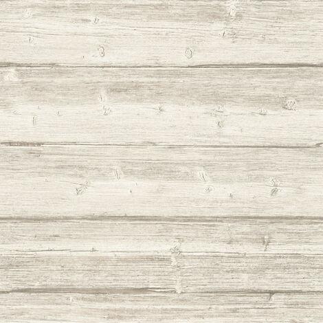 Papier peint imitation bois Papier peint effet bois Tapisserie imitation bois papier peint couloir Beige/crème 961382 - 10,05 x 0,53 m