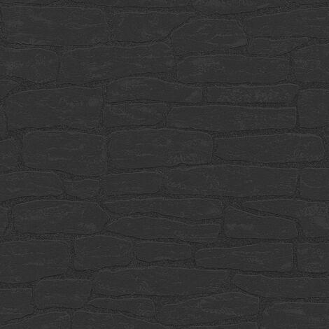 Papier peint intissé 139511 New England 2 - Papier peint uni Noir/Anthracite - 10,05 x 0,53 m