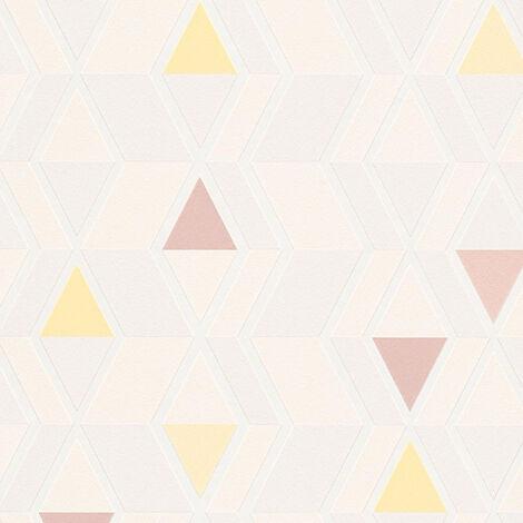 Papier peint intissé 343024 Happy Spring - Papier peint motif Jaune Gris Beige/Crème Rouge - 10,05 x 0,53 m