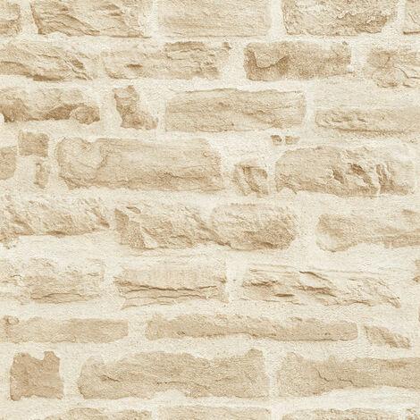 Papier peint intissé 355802 Best of Wood`n Stone 2nd Edition - Papier peint brique & pierre Beige/Crème - 10,05 x 0,53 m