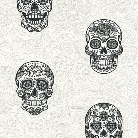 Papier peint intissé 358171 Club Tropicana - Papier peint jungle & tropical Gris Noir/Anthracite Blanc - 10,05 x 0,53 m