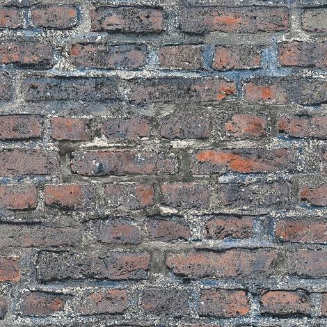 Papier peint intissé 361391 Sale - Papier peint brique & pierre Marron Multicolore Noir/Anthracite - 10,05 x 0,53 m