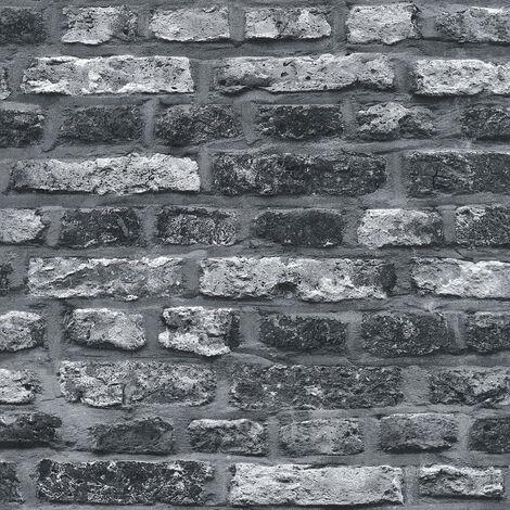 Papier peint intissé 362812 Il Decoro - Papier peint brique & pierre Gris Noir/Anthracite - 10,05 x 0,53 m