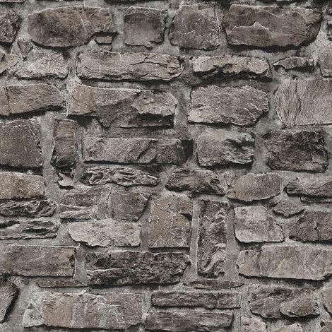 Papier peint intissé 363704 Il Decoro - Papier peint brique & pierre Noir/Anthracite - 10,05 x 0,53 m