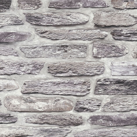 Papier peint intissé 364781 Il Decoro - Papier peint brique & pierre Gris Noir/Anthracite - 10,05 x 0,53 m
