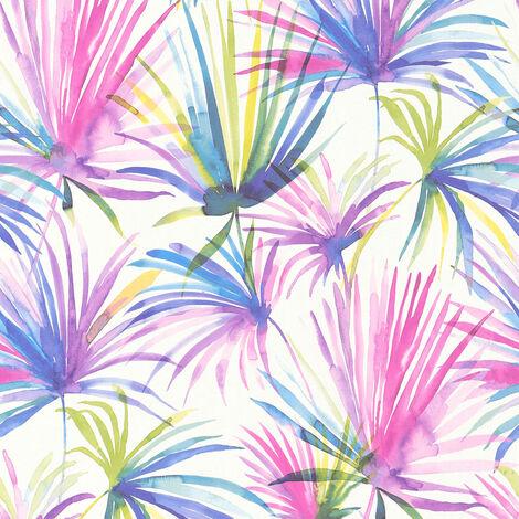 Papier peint intissé 366243 Colibri - Papier peint palmier Jaune Violet/Mauve Blanc - 10,05 x 0,53 m