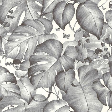 Papier peint intissé 366252 Colibri - Papier peint motif Noir/Anthracite Blanc - 10,05 x 0,53 m