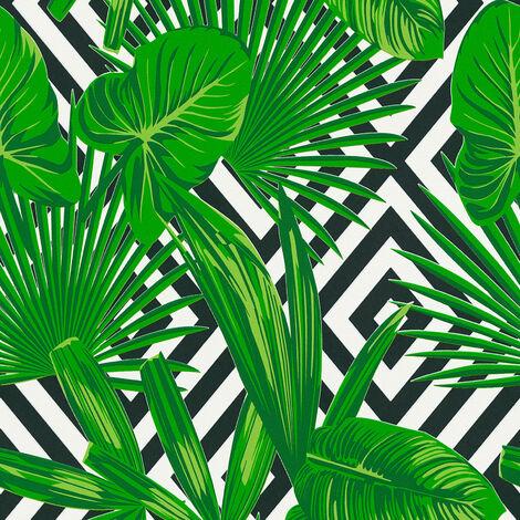 Papier peint intissé 368112 Il Decoro - Papier peint motif Vert Noir/Anthracite Blanc - 10,05 x 0,53 m