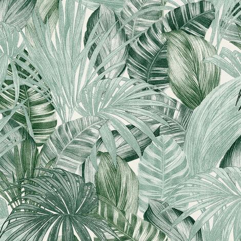 Papier peint intissé 368201 Greenery - Papier peint palmier Vert Blanc - 10,05 x 0,53 m